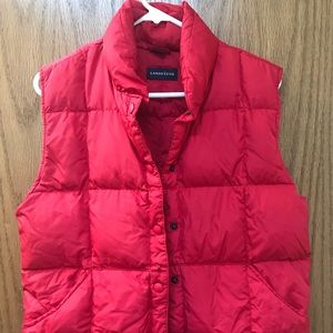Red down Land's End vest size S (6-8)
